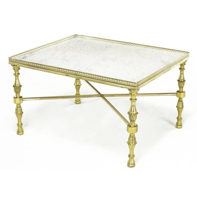 Image of Brass Gallery and Carrara Marble Regency X-Base Side Tables