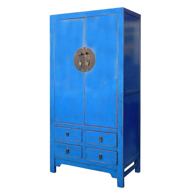 Tall Chinese Armorie in Rustic Blue - Image 2 of 6