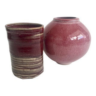 Vintage Signed Pottery Vases - A Pair