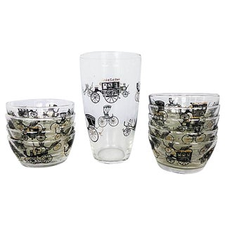 Libbey Antique Auto Glassware - Set of 10