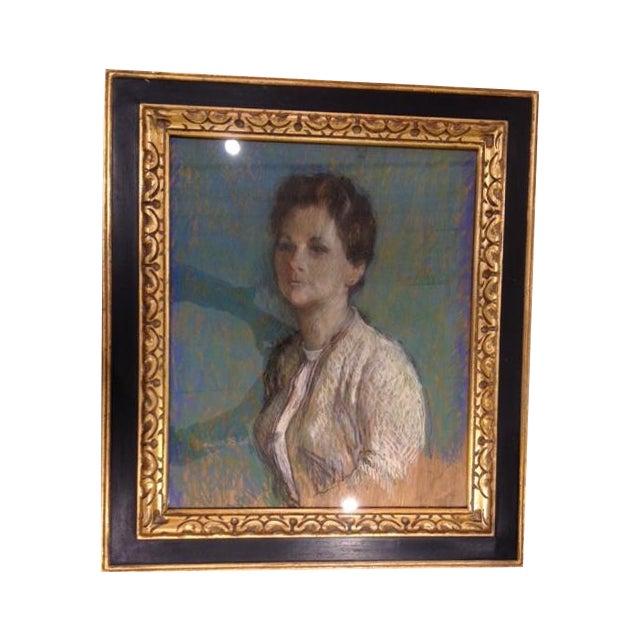Vintage 1966 Chalk Portrait of a Lady - Image 1 of 5