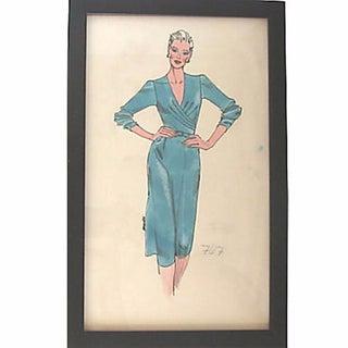 Framed 20th C. Fashion Sketch