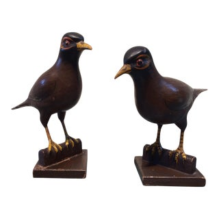 A Pair of Carved Robins on Perches