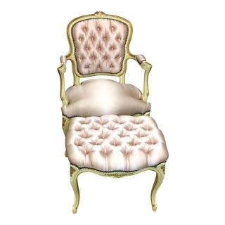 French Antique Pink Tufted Needlepoint Chair & Ottoman - A Pair