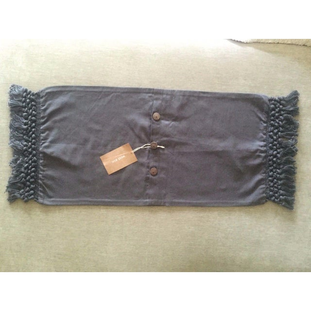 West Elm Slate Grey Tassel Pillow Covers - A Pair - Image 8 of 11