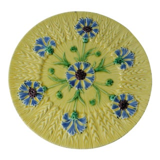 19th Majolica Cornflower Plate