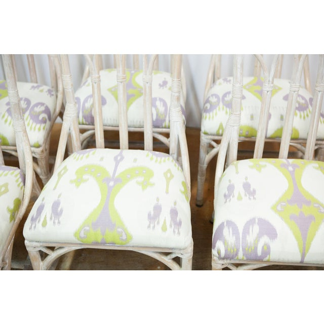 Rattan Upholstered Dining Chairs - Set of 6 - Image 6 of 8