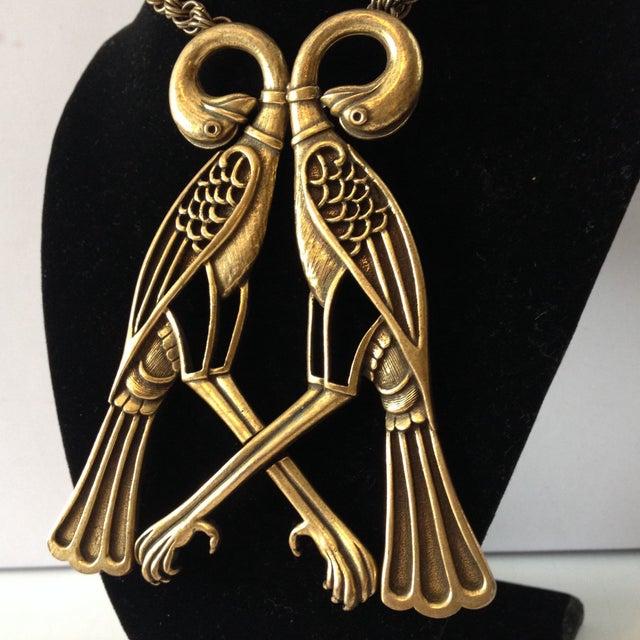Image of Vintage Egyptian Revival Brass Birds Necklace