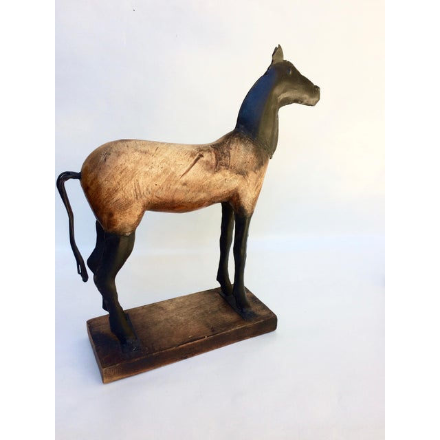 Image of Vintage Wood and Metal Horse Sculpture