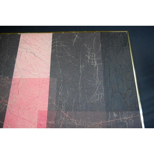 Modernist Pink & Black Mixed Media Painting - Image 6 of 8