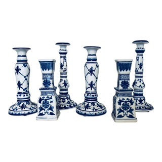 Blue & White Chinese Candlesticks - Set of 6