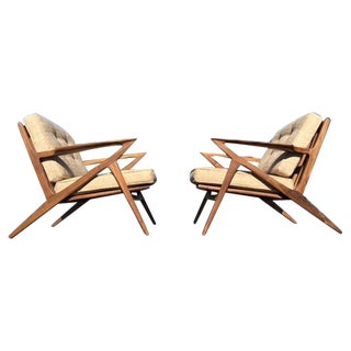 Mid-Century Walnut Z Chairs - A Pair