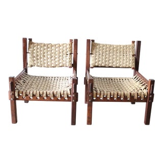 Wicker and Wood Chairs - A Pair