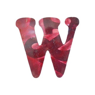 Large Red Metal Marquee Letter W