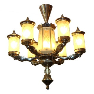 Antique French Art Deco Nickel-Plated Chandelier