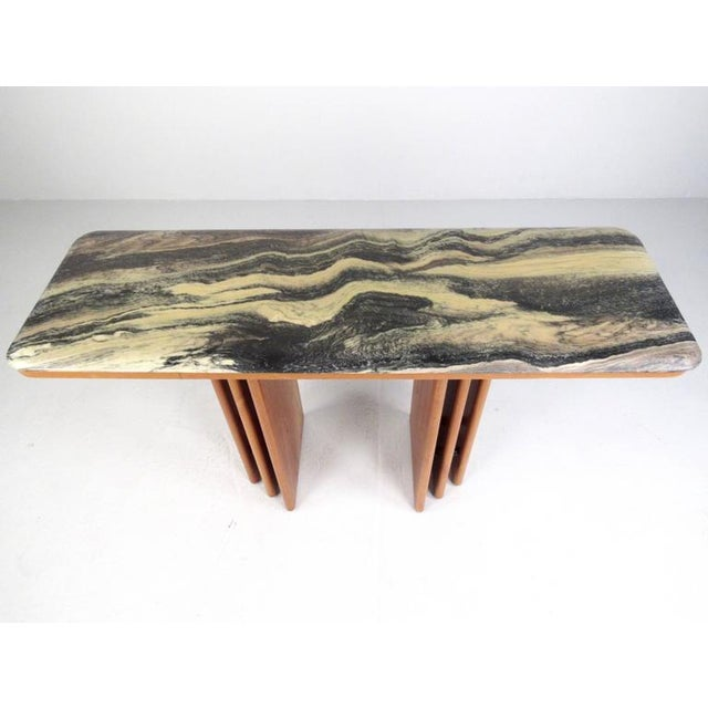 Mid-Century Teak and Marble Console Table by Bendixen Design - Image 3 of 11