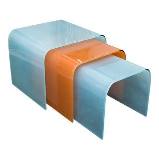 Angelo Cortesi Style Glass Waterfall Nesting Tables - Set of 3