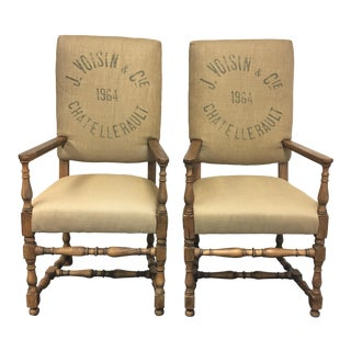 Restoration Hardware English Baroque Printed Chairs- A Pair