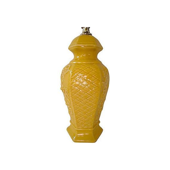 1970s Vintage Chinoiserie Mustard Yellow Ceramic Ginger Jar Lamp - Image 3 of 3