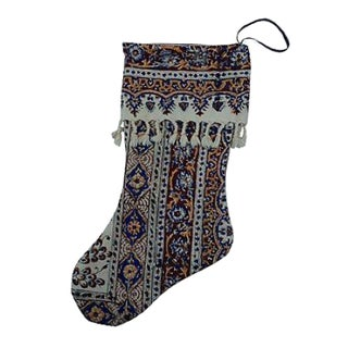 Antique Indian Hand-Blocked Christmas Stocking