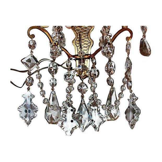Antique Crystal French Bronze Sconces - A Pair - Image 5 of 6