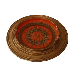 Mid Century Gold & Orange Ceramic Ashtray by Bitossi