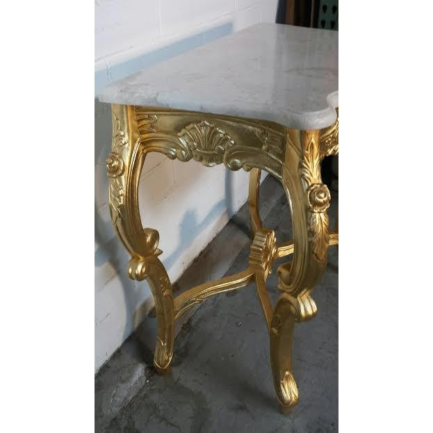 French Rococo XV Marble Top Console Table - Image 8 of 9