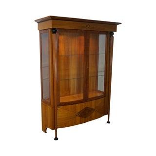 European Art Deco Neoclassical Style Satin Wood Inlaid Curio Cabinet