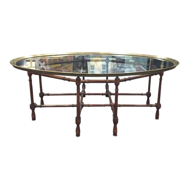 Hollywood Regency Glass Brass Faux Bamboo Coffee Table Chairish