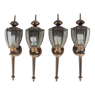 Outdoor Federal 6-Sided Wall Sconce Lanterns - Set of 4