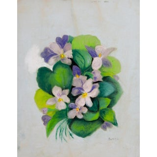 Violets Pastel Drawing c. 1930s