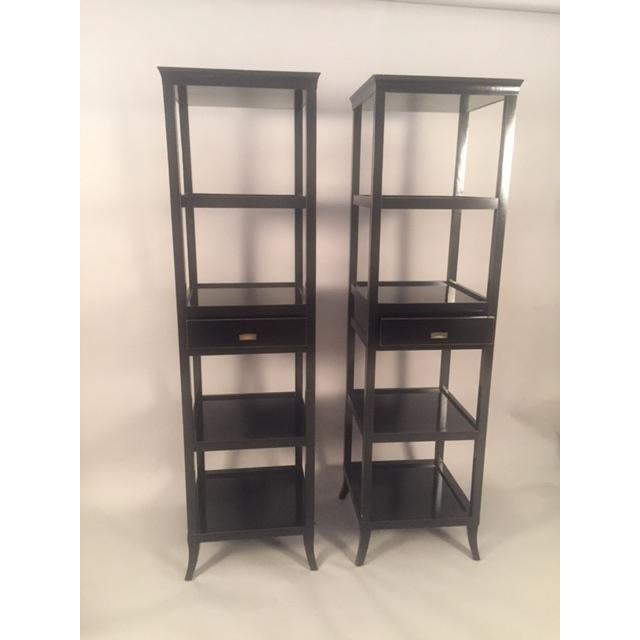 Contemporary Wood Black Lacquered Etagere Shelves - A Pair - Image 6 of 9