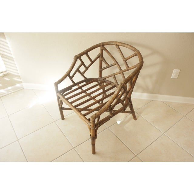 Rattan Chippendale Barrel Armchair - Image 3 of 7