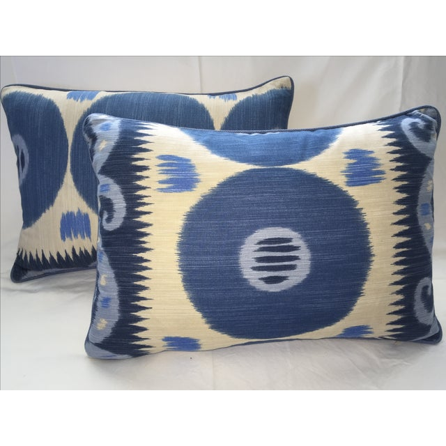Emil Blue Ikat Pillows - A Pair - Image 2 of 4