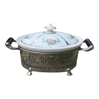 Vintage Royal Rochester Tureen in Silver Caddy