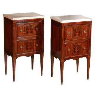 Pair of Petite Marble-Top Commodini from Naples