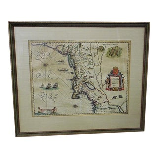 "Rare Antique ""Backwards"" 17th C. Map-""Nova Belgica Et Anglia Nova"" by Wm Bleauw, Amsterdam C.1635"