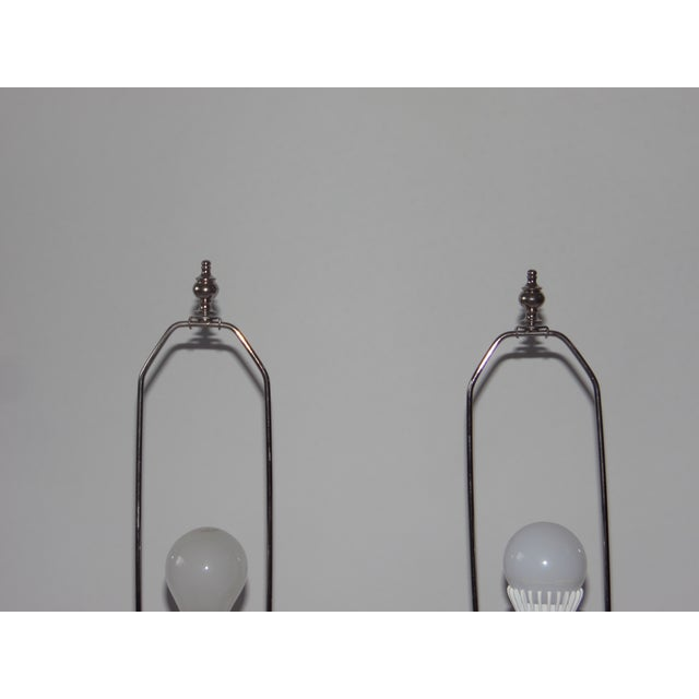 Image of Mid-Century Lucite & Ceramic Table Lamps - A Pair