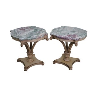 Grosfeld House Painted Wood Marble Top Side Tables