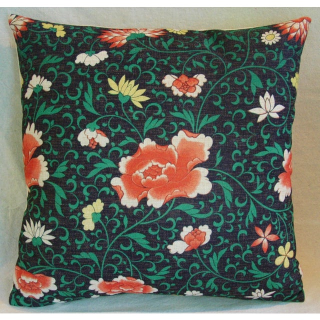 Imperial Scrolling Floral Lotus Linen Pillow - Image 2 of 5