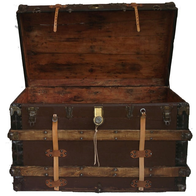 Image of Antique Wood & Leather Trunk
