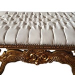Image of Tufted White Leather Louis XVI Style Bench