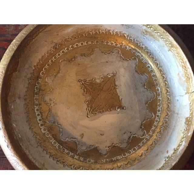 Image of Italian Florentine Wood & Glass Ashtray