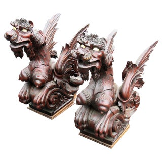 Victorian Figural Carved Griffins - A Pair