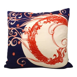Navy & Red Silk Scarf Pillow