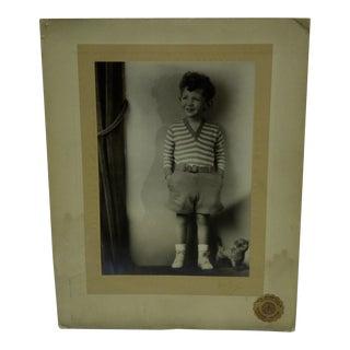 C. 1930 Little Boy Standing Black & White Photograph by Vincent Evans