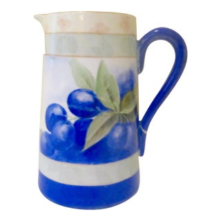 Hand Painted Blueberry Pitcher