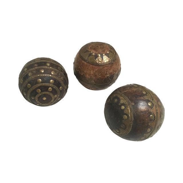 Antique Wood & Metal Bocce Balls - Set of 3 - Image 1 of 7