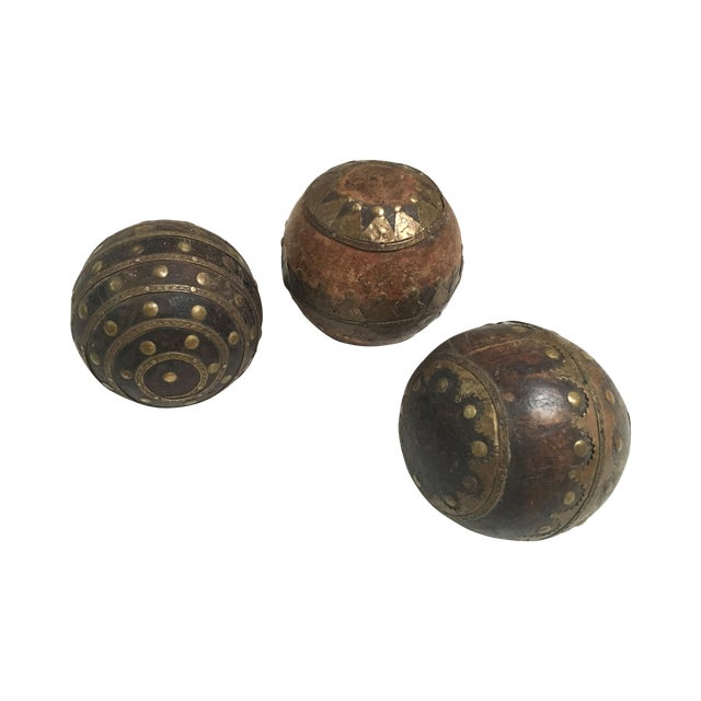 Image of Antique Wood & Metal Bocce Balls - Set of 3
