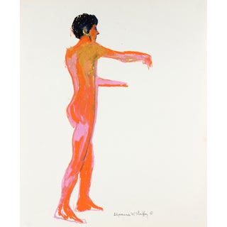 Mid Century Oil Pastel Male Figure